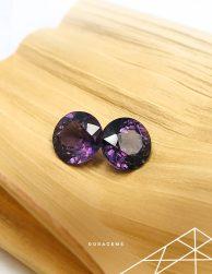 Natural Purple Spinel gemstone pair from Sri Lanka (Ceylon) Roragems)