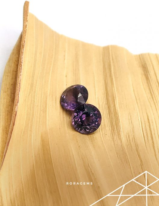 Purple Spinel pair from Sri Lanka (Ceylon) Roragems
